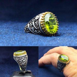 انگشتر زبرجد اصلی خوش رنگ زیبا