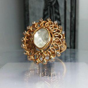 انگشتر فلامک و یا همان پوسته الماس طبیعی کمیاب زیبا
