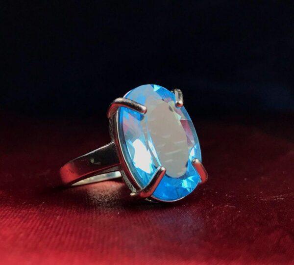 انگشتر توپاز سویسی اصلی خوش رنگ زیبا اصلی رکاب چهار چنگ