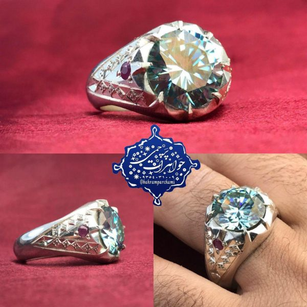 انگشتر موزونایت الماس روسی زیبا
