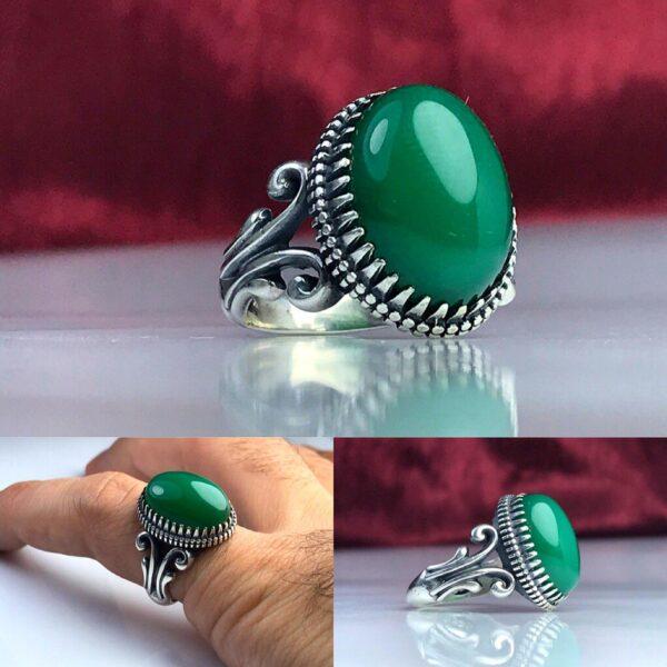 انگشتر عقیق سبز اصلی