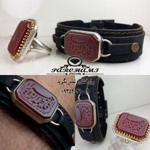 انگشتر و دستبند عقیق سرخ زیبا