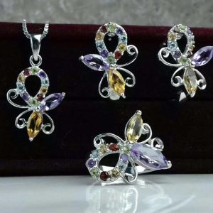نیم ست جواهری سنگ اصلی