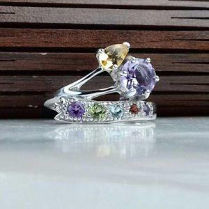انگشتر جواهری سنگ اصلی آمتیست، سیترین، زبرجد، یاقوت سیلان