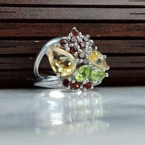 انگشتر جواهری سنگ اصلی سیترین. زبرجد. یاقوت سیلان