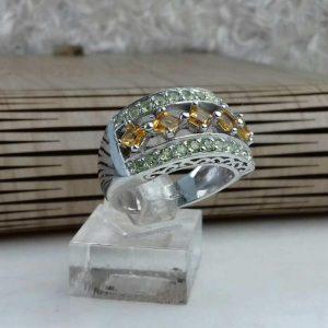 انگشتر جواهری سنگ اصلی سیترین و زبرجد اصلی