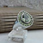 انگشتر جواهری سنگ اصلی توپاز سبز سویسی و زبرجد اصلی