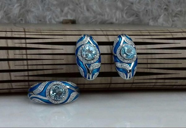 نیم ست جواهری سنگ اصلی میناکاری