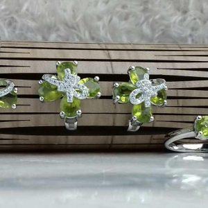 نیم ست جواهری سنگ اصلی زبرجد اصلی کار زیبا و خاص