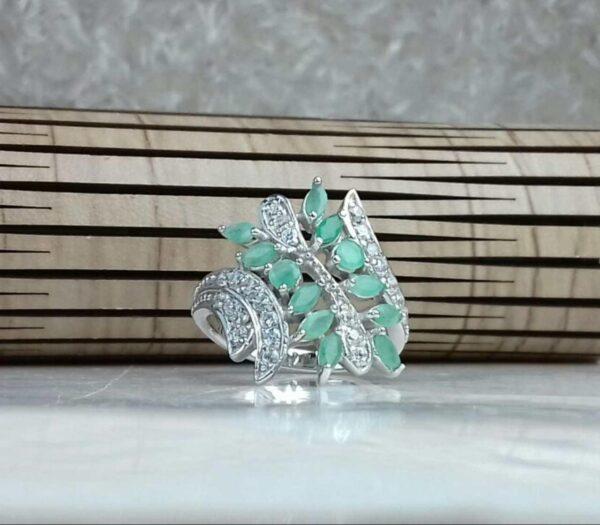 انگشتر جواهری سنگ اصلی زمرد