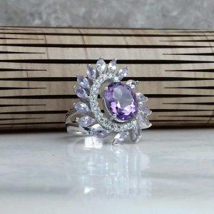 انگشتر جواهری سنگ اصلی آمتیست اصلی