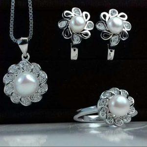 نیم ست جواهری سنگ اصلی مروارید