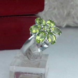 انگشتر جواهری سنگ اصلی زبرجد