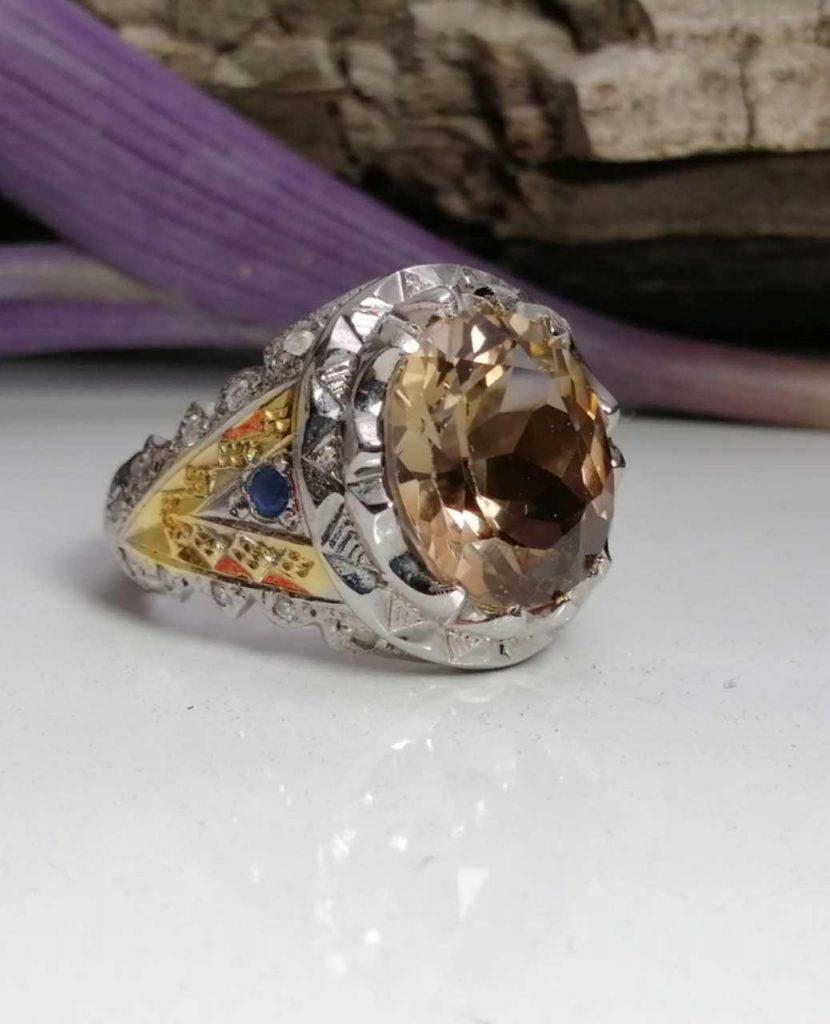 انگشتر توپاز طلایی اصلی رنگ طبیعی نچرال درجه یک