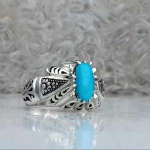 انگشتر فیروزه نیشابوری صاف اصلی زیبا