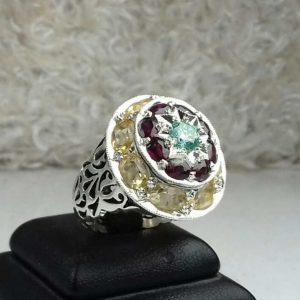انگشتر جواهری سنگ اصلی یاقوت قرمز موزونایت یاقوت زرد