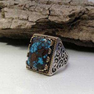 انگشتر فیروزه شجری نیشابوری طبیعی خوش رنگ