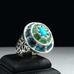 انگشتر جواهری سنگ اصلی. فیروزه نیشابوری. زمرد زانبیا. توپاز سویسی