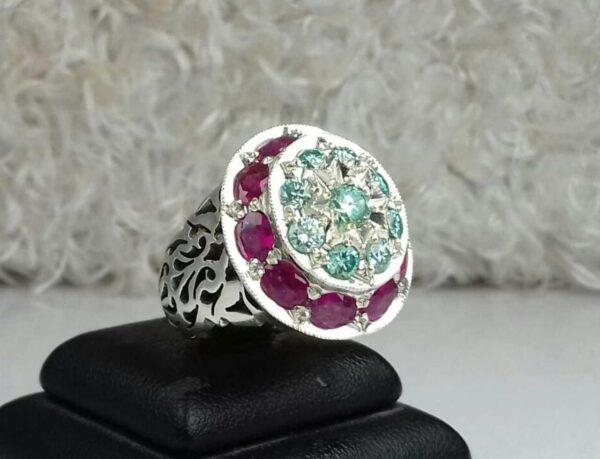 انگشتر جواهری موزونایت الماس روسی و یاقوت سرخ آفریقایی اصلی