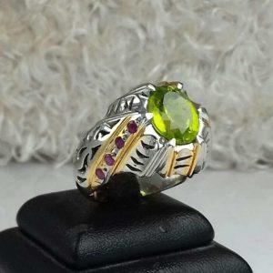 انگشتر زبرجد اصلی خوش رنگ