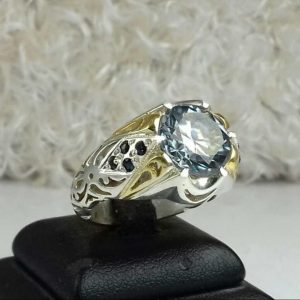 انگشتر موزونایت سفید الماس روسی