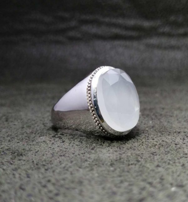 انگشتر عقیق یمن سفید الماس تراش