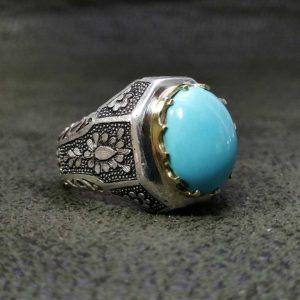 انگشتر فیروزه نیشابوری اصلی طبیعی خوش رنگ