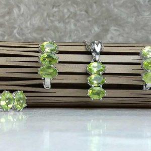 نیم ست جواهری سنگ اصلی زبرجد