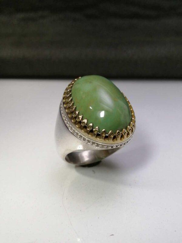 انگشتر فیروزه نیشابوری سبز طبیعی اصلی خوش رنگ زیبا
