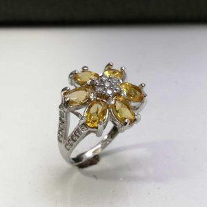 انگشتر جواهری نگین سیترین طلایی اصلی