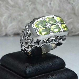انگشتر جواهری 6 نگین زبرجد اصلی
