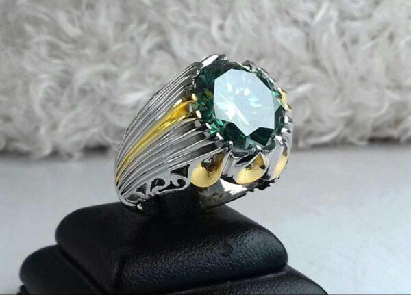 انگشتر الماس روسی سبز درجه یک