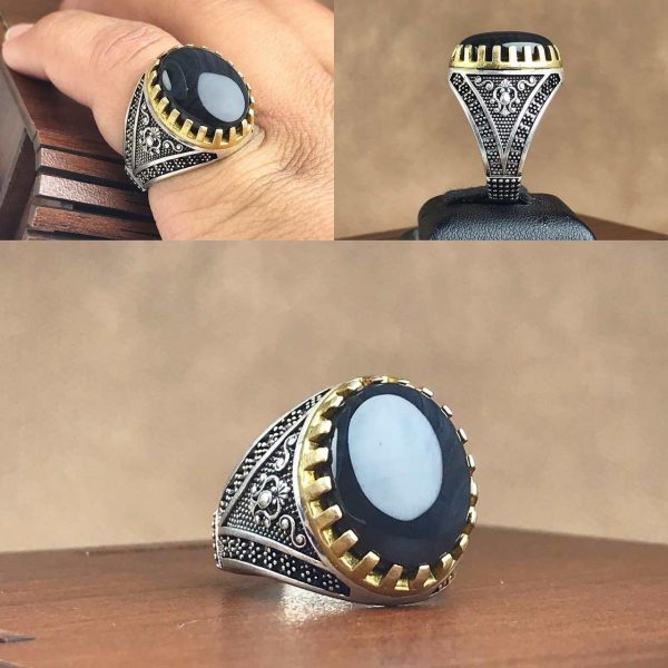 انگشتر عقیق یمن مشکی