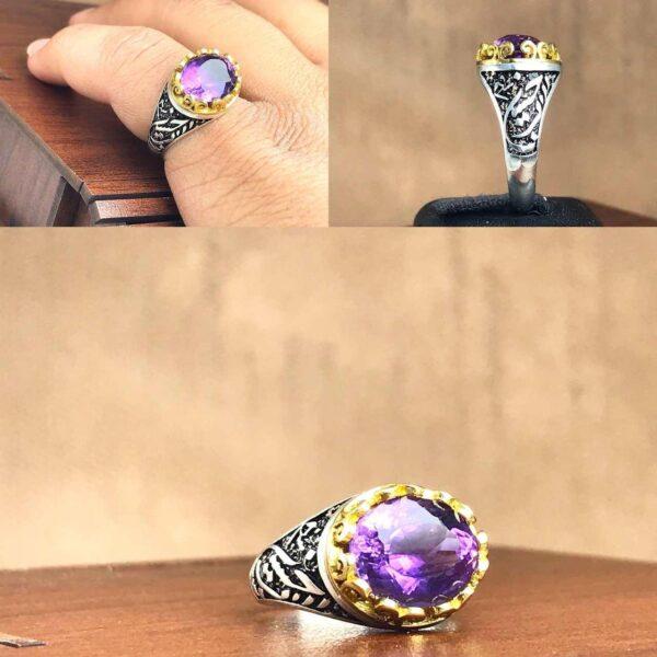 انگشتر آمتیست اصلی خوش رنگ