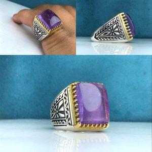 انگشتر آمتیست اصلی رنگ طبیعی