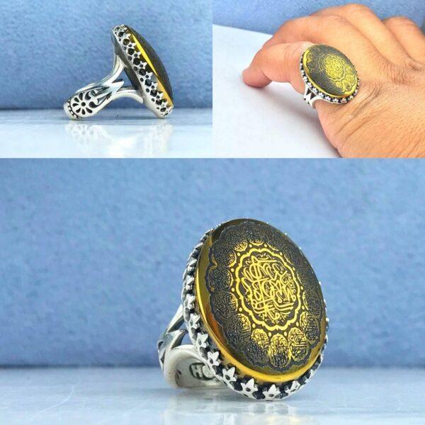 انگشتر حدید طلایی 14 معصوم