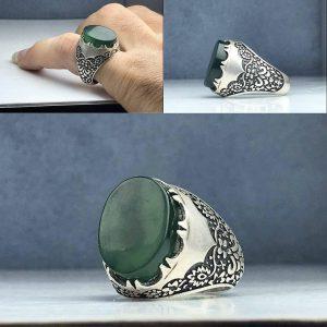 انگشتر یشم سبز اصلی