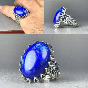 انگشتر لاجورد افغانی طبیعی اصلی