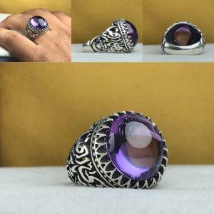 انگشتر آمتیست اصلی طبیعی خوش رنگ