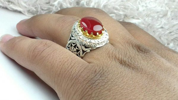 انگشتر عقیق یمن اصل خوش رنگ