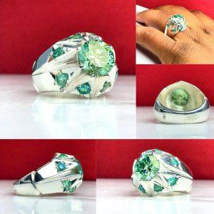 انگشتر موزانایت سبز الماس روسی