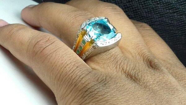 انگشتر جواهری توپاز سویسی اصل طبیعی