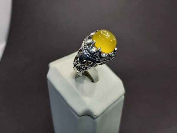 انگشتر عقیق زرد شرف شمس اصل خوش رنگ