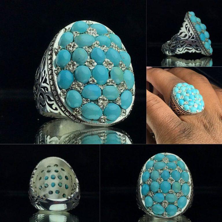 انگشتر زیبای چند نگین فیروزه نیشابور اصل