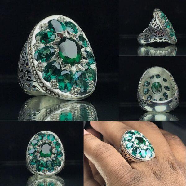 انگشتر جواهری توپاز سبز اصل