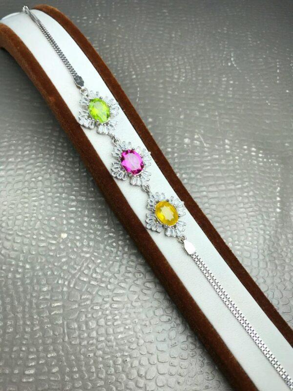 دستبند سه نگین زبرجد و توپاز صورتی و یاقوت زرد اصل