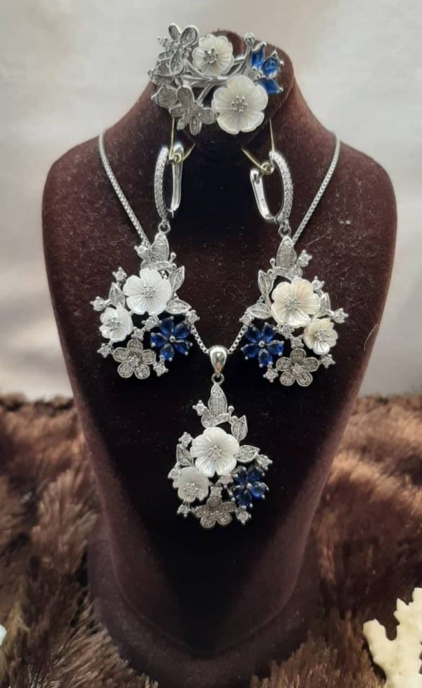 نیم ست نقره جواهری صدف اصل و نگین آبی زیبا