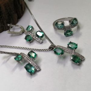 نیم ست جواهری توپاز سبز سویسی اصل