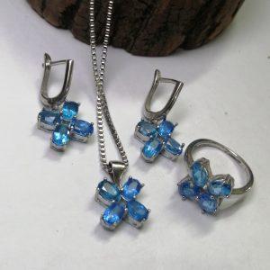 نیم ست جواهری توپاز آبی اصل