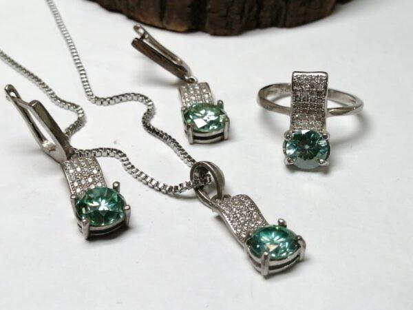 نیم ست جواهری موزونایت سبز الماس روسی